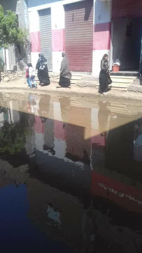 طفح الصرف في شوارع بقرية «منية الحيط» بالفيوم