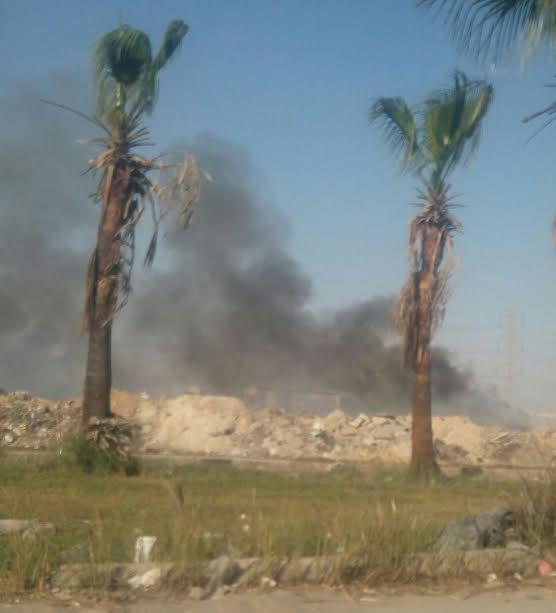 صور.. حريق بمخلفات القمامة بالحي السادس بمدينة 6 أكتوبر