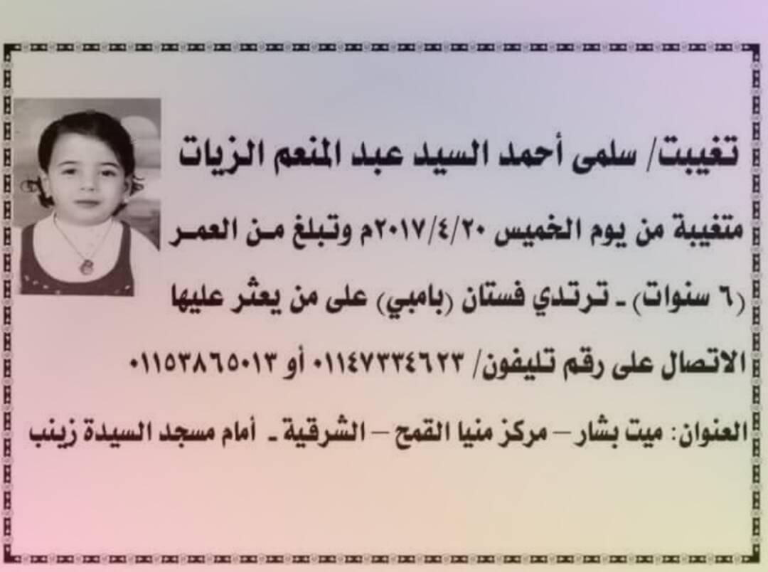 مفقودون.. سلمى اختفت منذ الخميس الماضي في «ميت بشار» بالشرقية