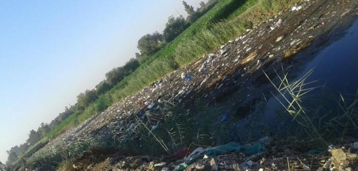 أهالي «نواج» بالغربية يطالبون بتطهير مصرف مُمتلىء بالمخلفات (صور)