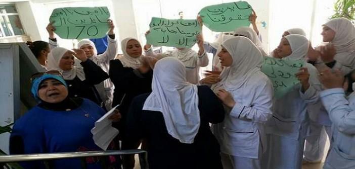 وقفة احتجاجية لـ«تمريض الصحة النفسية» بحلوان لصرف حافز الـ170% (صور)