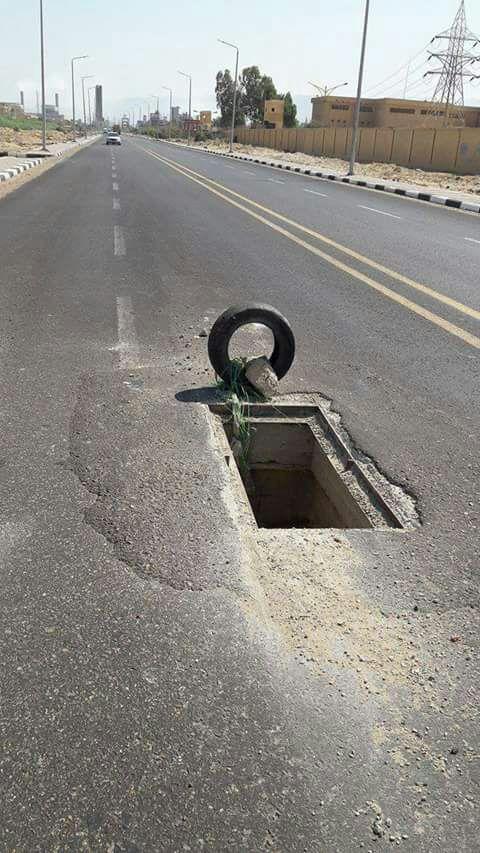 حفرة على طريق مصر – إيران بالسويس تهدد حياة المواطنين: «فخ الموت»