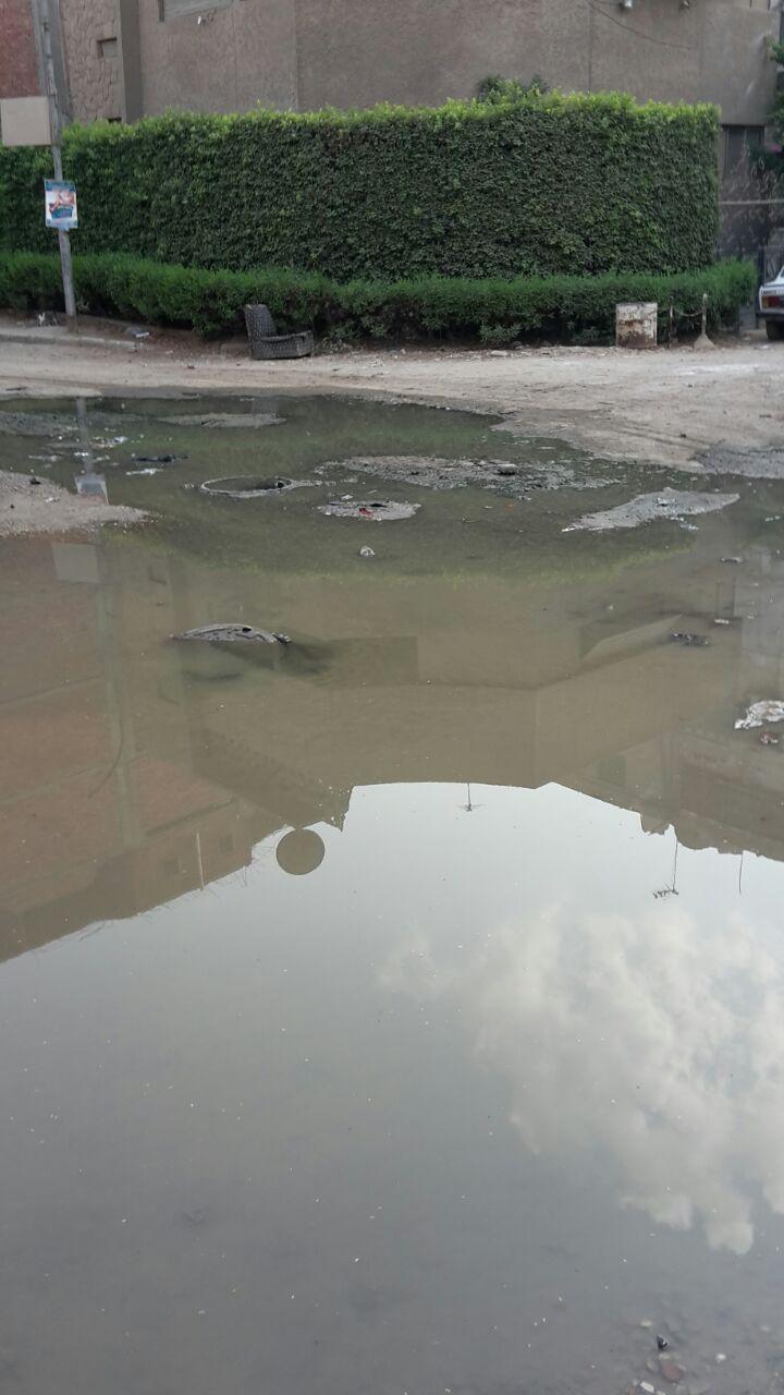 بالصور.. طفح الصرف في شارع التعاون بالهرم