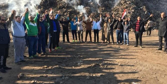 مظاهرة «رياضية» ضد تحويل أرض نادي مسطرد إلى مقلب قمامة (صور)