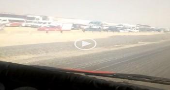 بالفيديو.. زحام على طريق الكريمات نتيجة للشبورة الكثيفة