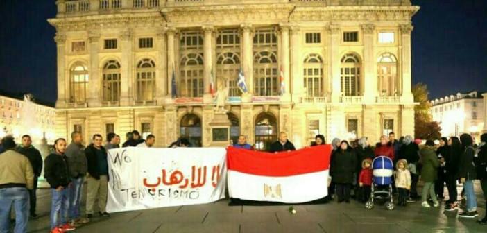 مصريون في إيطاليا ينظمون وقفة لدعم جهود الدولة في مكافحة الإرهاب (صور)